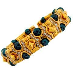 BULGARI Tahitian Pearl Diamond Yellow Gold Bangle Bracelet