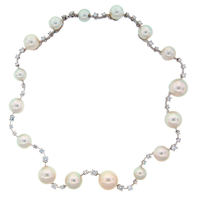 Tiffany And Co Pearl Diamond Platinum Necklace At 1stdibs