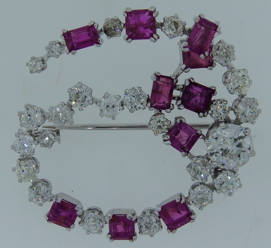 HERMES Diamond and Pink Sapphire Brooch 1950's image 4