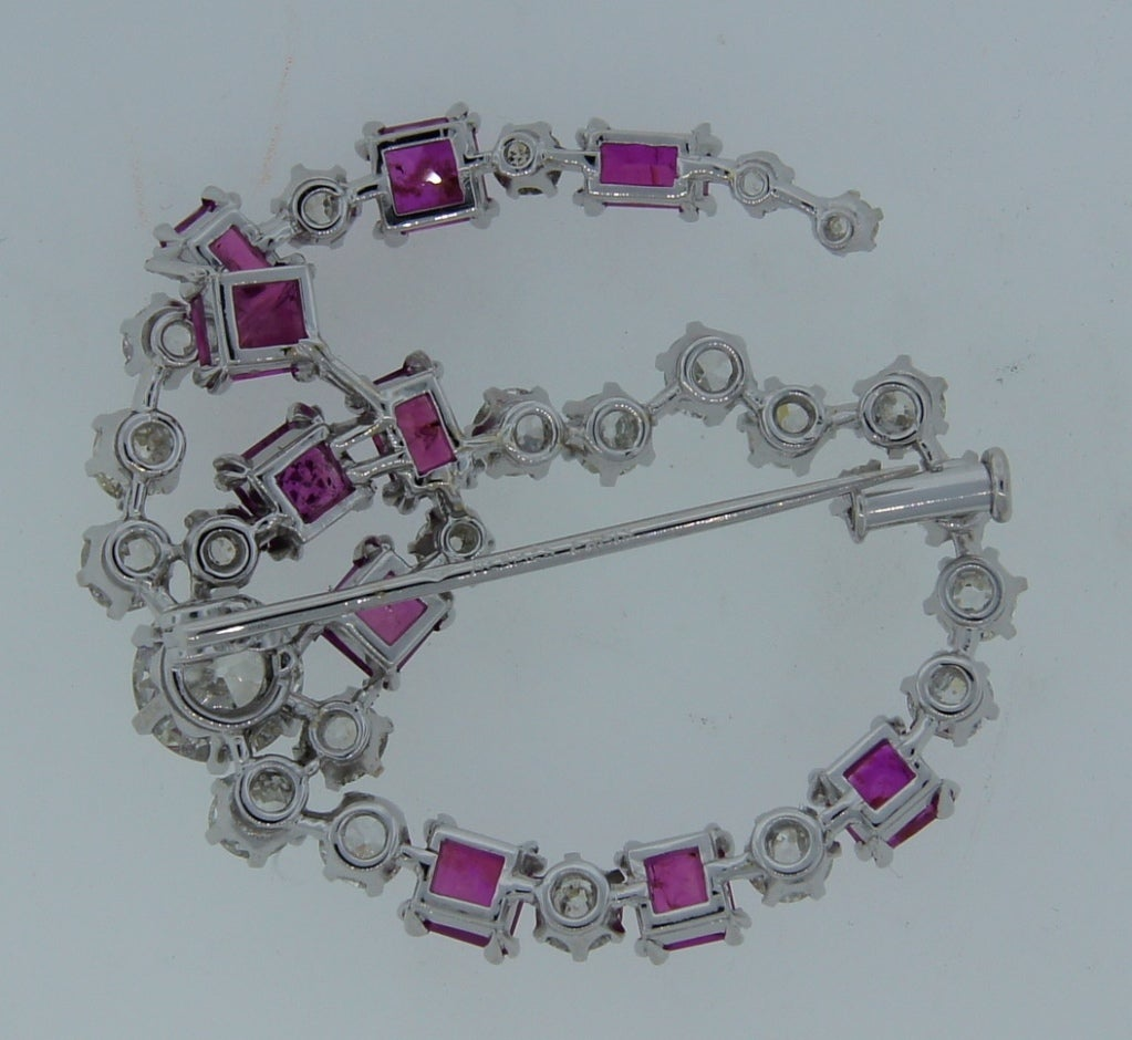HERMES Diamond and Pink Sapphire Brooch 1950's image 5