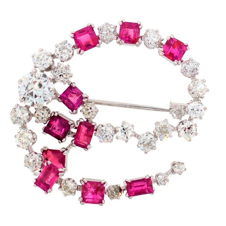 HERMES Diamond and Pink Sapphire Brooch 1950's