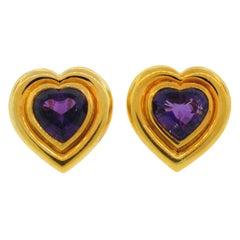 Vintage TIFFANY & Co. PALOMA PICASSO 18k Gold Earrings Heart Amethyst