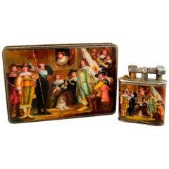Dunhill / Bruder Frank Enamel & Silver Lightler & Cigarette Case in Fitted Box