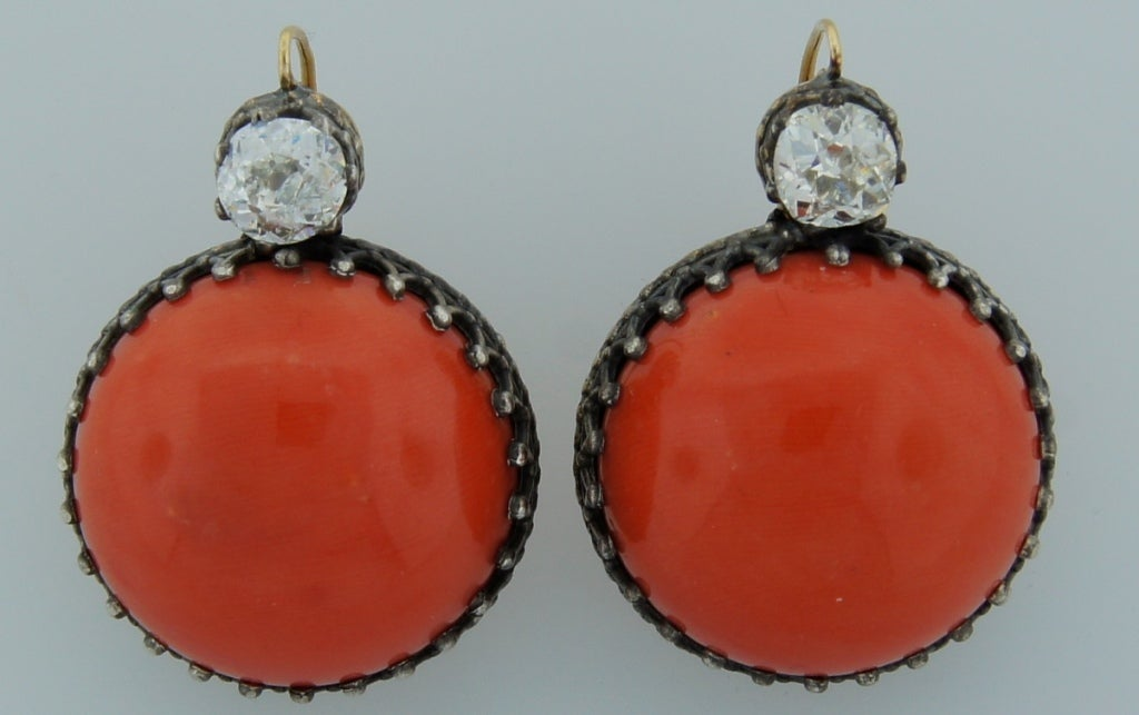 Victorian Coral, Diamond, Silver & Gold Earrings 2