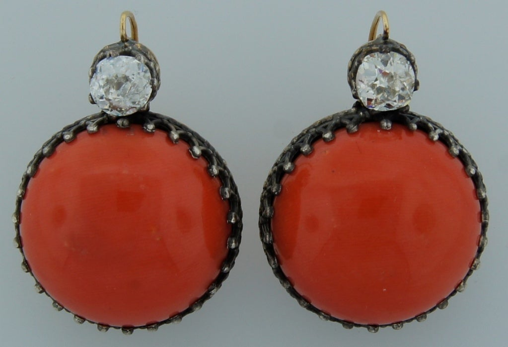 Victorian Coral, Diamond, Silver & Gold Earrings 3