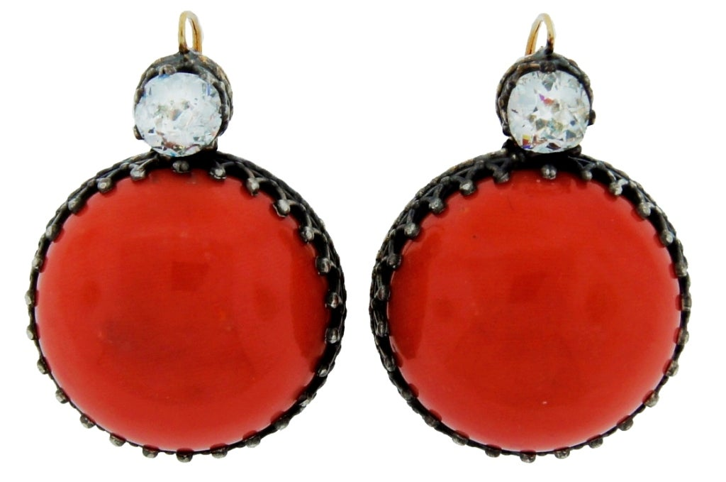 Victorian Coral, Diamond, Silver & Gold Earrings 4