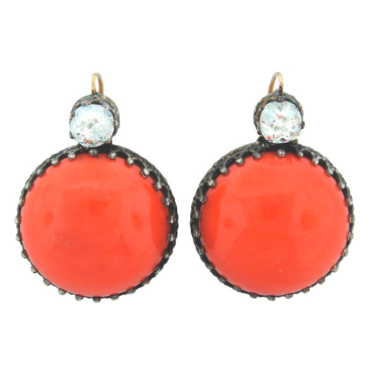 Victorian Coral, Diamond, Silver & Gold Earrings 1