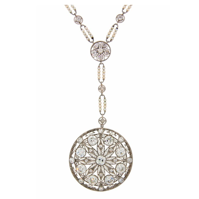 Edwardian Diamond, Seed Pearl & Platinum Necklace