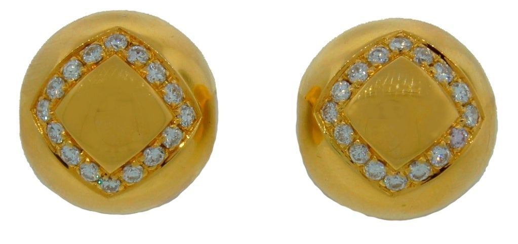 BULGARI Diamond & Yellow Gold Ball Earrings In Excellent Condition For Sale In Beverly Hills, CA