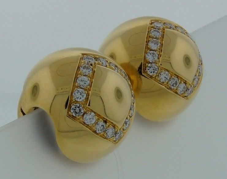 Women's BULGARI Diamond & Yellow Gold Ball Earrings For Sale