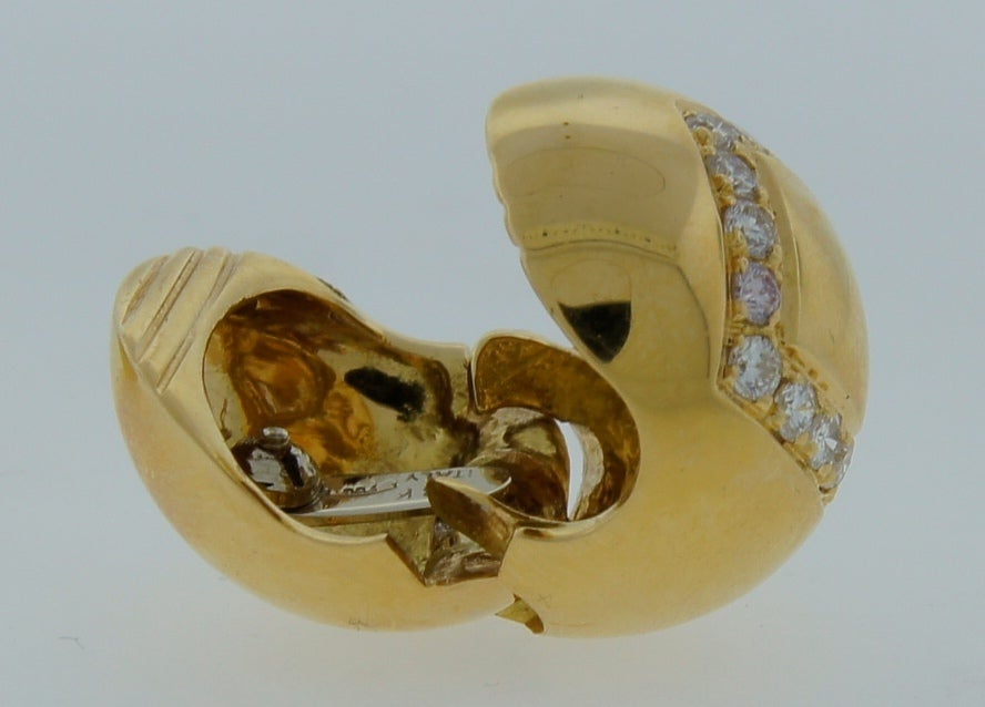 BULGARI Diamond & Yellow Gold Ball Earrings For Sale 3