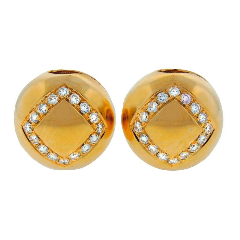 BULGARI Diamond & Yellow Gold Ball Earrings For Sale