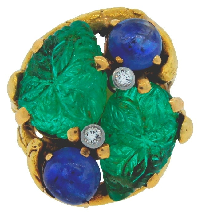 Prominent Carved Emerald, Sapphire, Diamond & Yellow Gold Ring 2