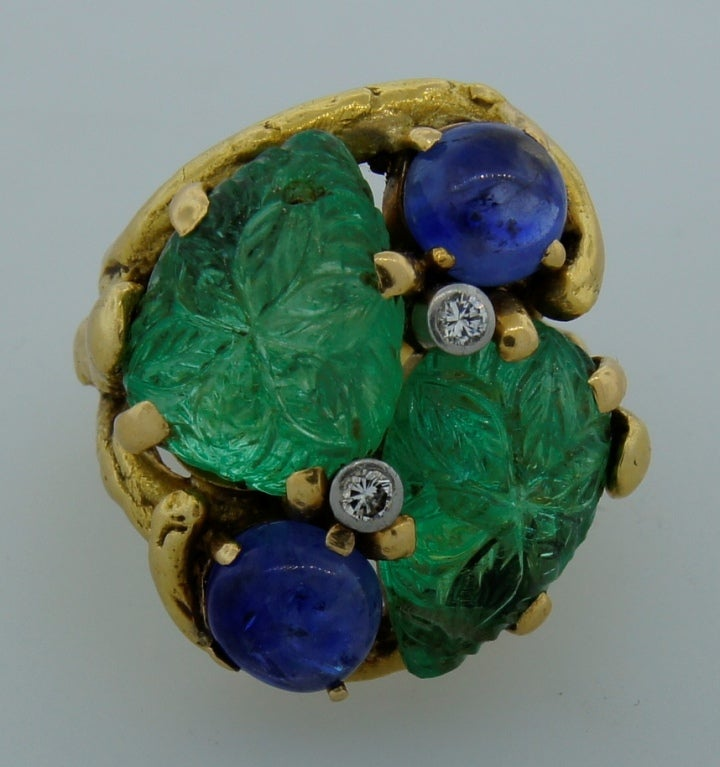 Prominent Carved Emerald, Sapphire, Diamond & Yellow Gold Ring 3