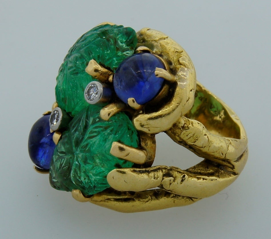 Prominent Carved Emerald, Sapphire, Diamond & Yellow Gold Ring 4