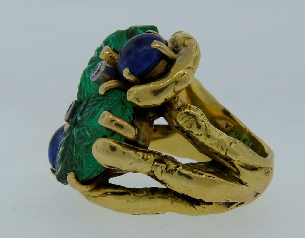 Prominent Carved Emerald, Sapphire, Diamond & Yellow Gold Ring 5
