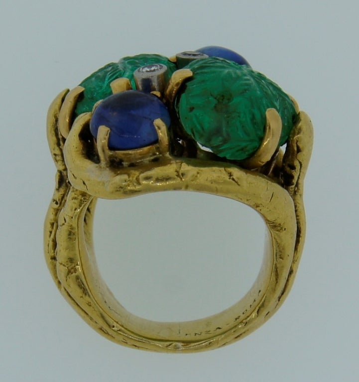 Prominent Carved Emerald, Sapphire, Diamond & Yellow Gold Ring 6