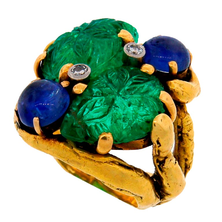 Prominent Carved Emerald, Sapphire, Diamond & Yellow Gold Ring 1