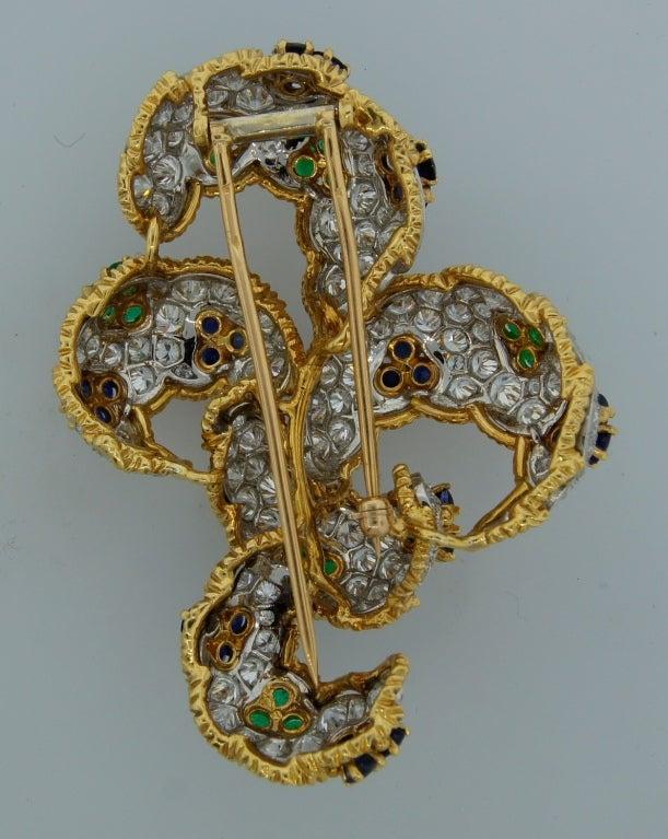 Diamond, Sapphire, Emerald & Yellow Gold Earrings & Brooch Set 10