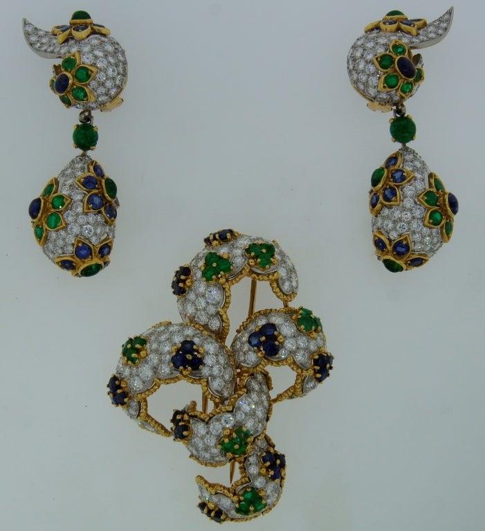 Diamond, Sapphire, Emerald & Yellow Gold Earrings & Brooch Set 2