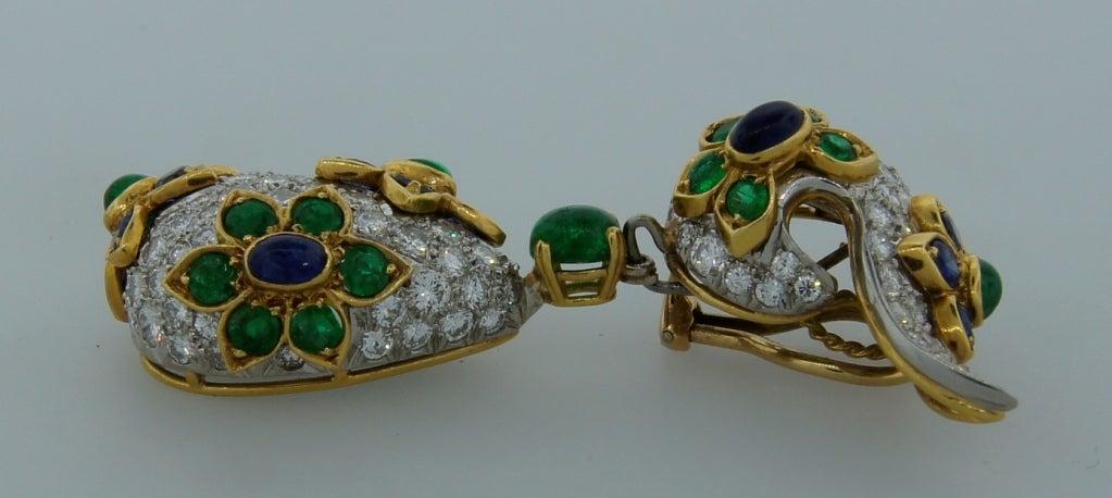 Diamond, Sapphire, Emerald & Yellow Gold Earrings & Brooch Set 5