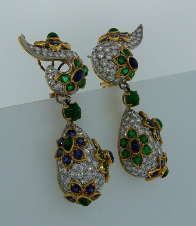 Diamond, Sapphire, Emerald & Yellow Gold Earrings & Brooch Set 6