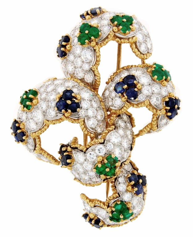 Diamond, Sapphire, Emerald & Yellow Gold Earrings & Brooch Set 8