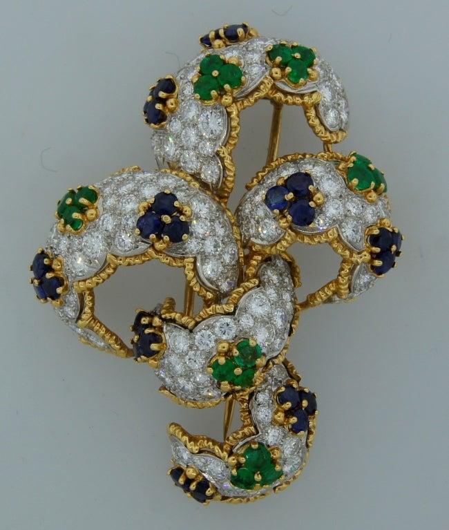 Diamond, Sapphire, Emerald & Yellow Gold Earrings & Brooch Set 9
