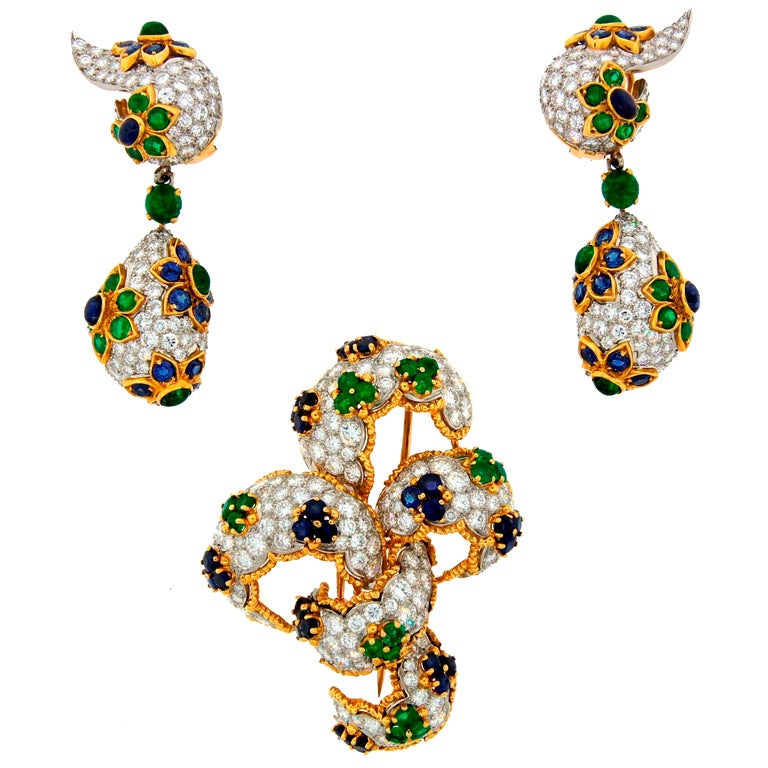 Diamond, Sapphire, Emerald & Yellow Gold Earrings & Brooch Set 1