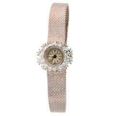 PATEK PHILIPPE Lady's White Gold and Diamond Bracelet Watch