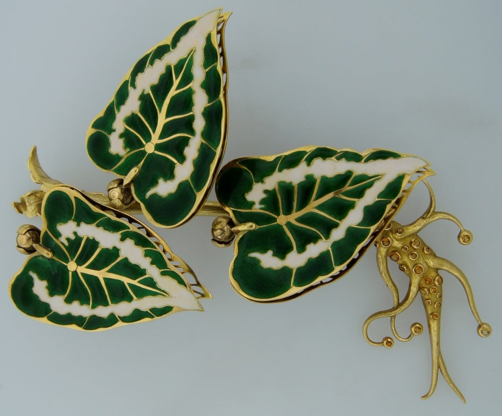 Remarkable French Belle Epoque Movable Enamel Leaves Flower Pin 2