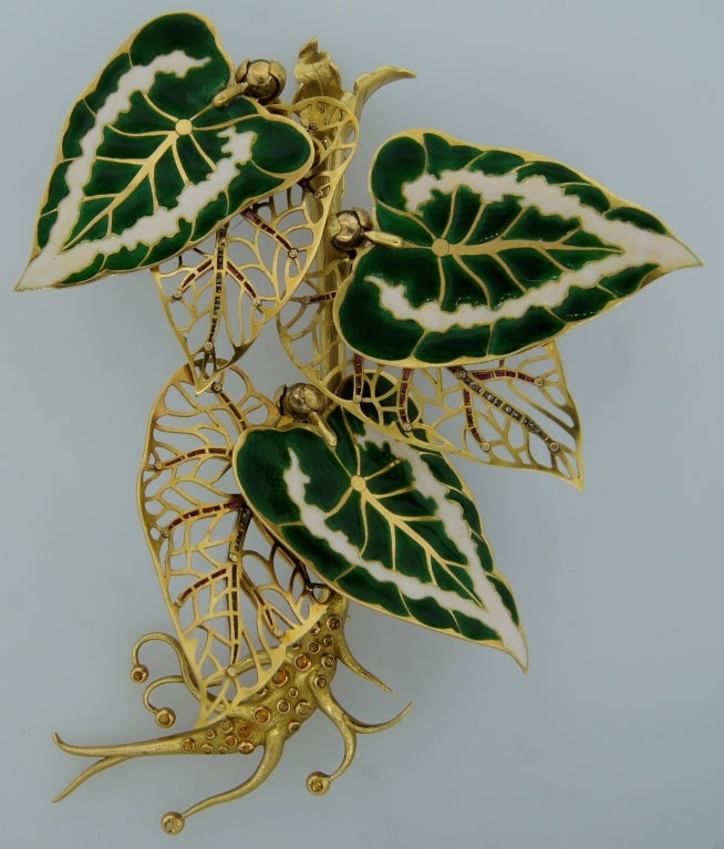 Remarkable French Belle Epoque Movable Enamel Leaves Flower Pin 3