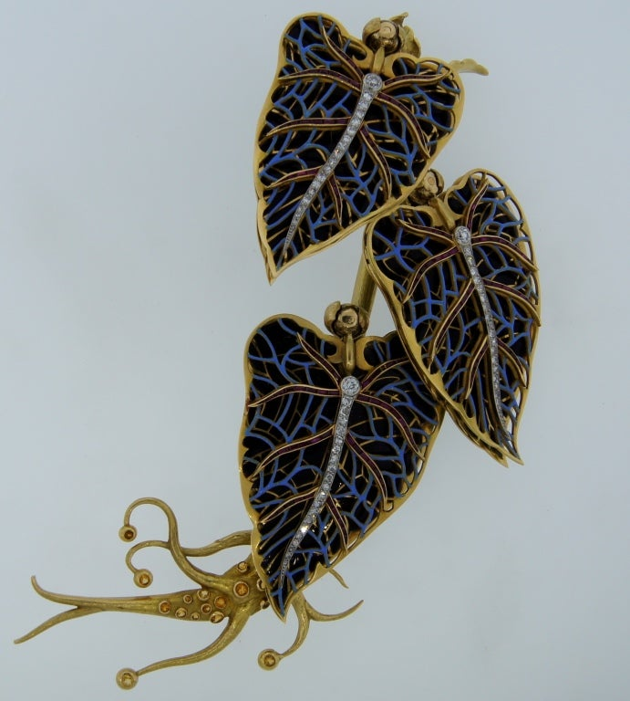 Remarkable French Belle Epoque Movable Enamel Leaves Flower Pin 5