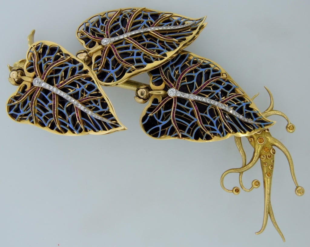Remarkable French Belle Epoque Movable Enamel Leaves Flower Pin 7