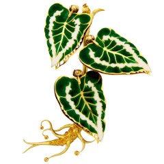 Remarkable French Belle Epoque Movable Enamel Leaves Flower Pin
