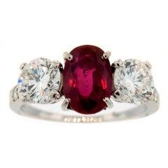TIFFANY & Co. Burmese Ruby Diamond Platinum Ring 2.20-ct No Treatment AGL Report