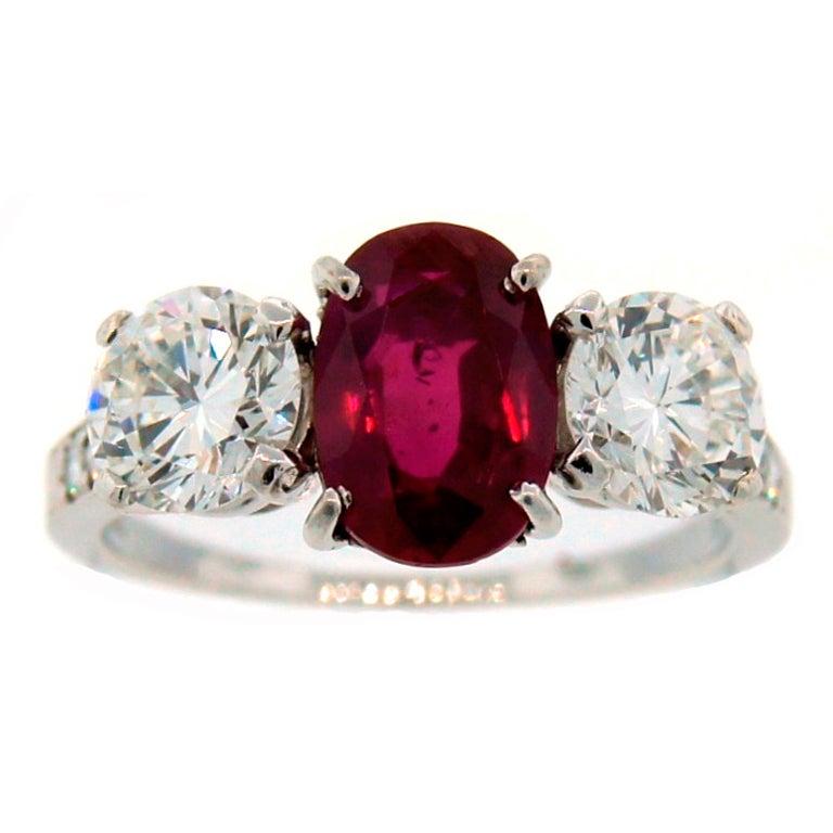 ef61d7da5 TIFFANY & Co. Burmese Ruby Diamond Platinum Ring 2.20-ct No Heat Treatment  AGL
