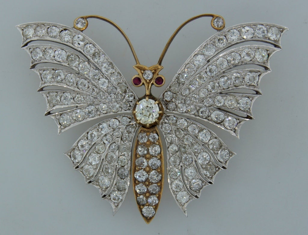 Victorian Diamond Ruby Gold Butterfly Brooch Pin 2