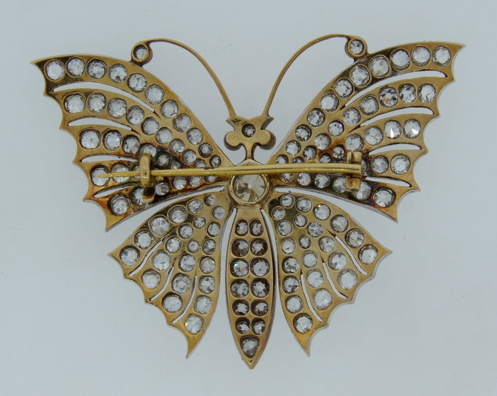 Victorian Diamond Ruby Gold Butterfly Brooch Pin 3