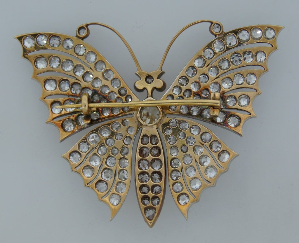 Victorian Diamond Ruby Gold Butterfly Brooch Pin 4