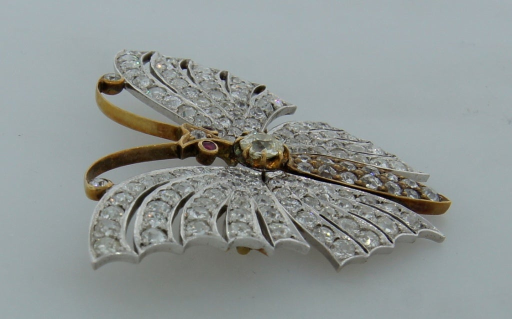 Victorian Diamond Ruby Gold Butterfly Brooch Pin 5