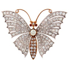 Victorian Diamond Ruby Gold Butterfly Brooch Pin