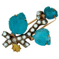 MARIO BUCCELLATI Rose Cut Diamond, Blue Topaz & Gold Brooch Pin