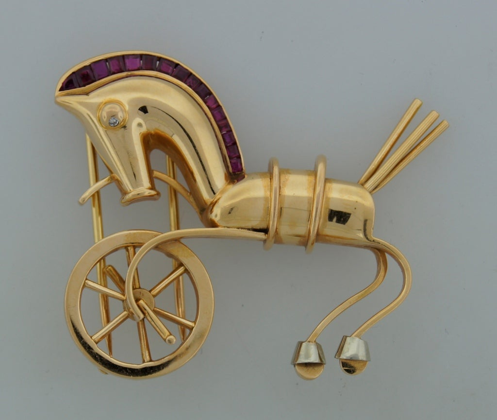 LACLOCHE Ruby  Yellow Gold Horse Pin Brooch 2