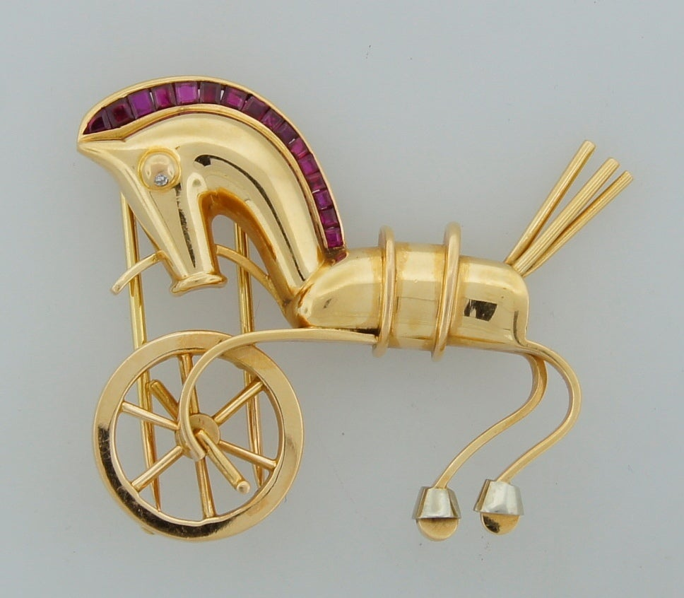 LACLOCHE Ruby  Yellow Gold Horse Pin Brooch 3