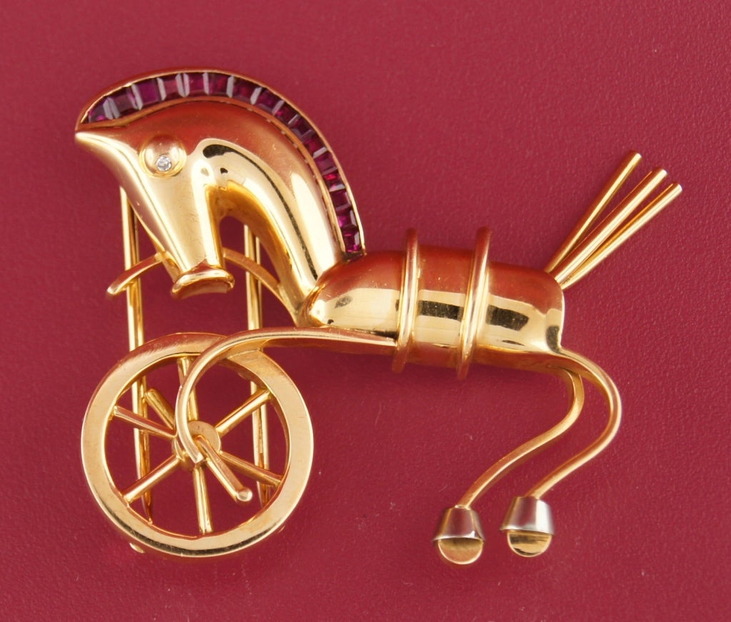 LACLOCHE Ruby  Yellow Gold Horse Pin Brooch 4