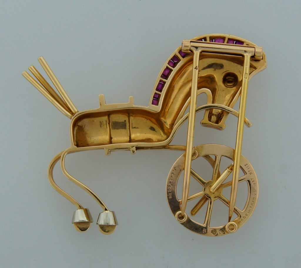LACLOCHE Ruby  Yellow Gold Horse Pin Brooch 5