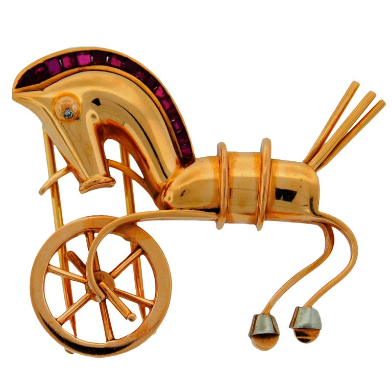 LACLOCHE Ruby  Yellow Gold Horse Pin Brooch 1