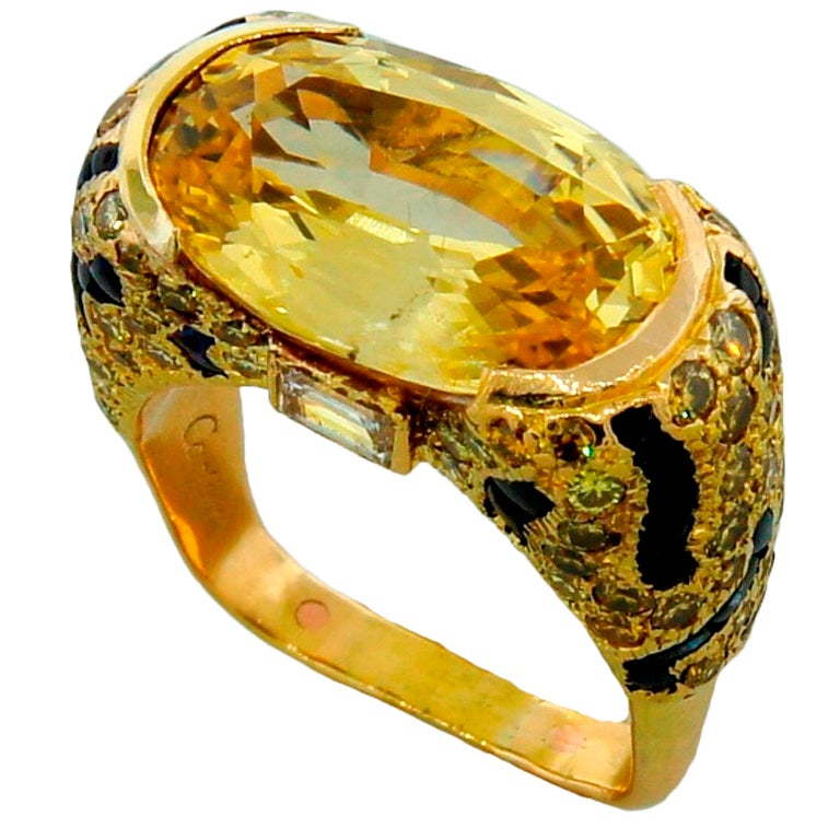 cartier panthere yellow sapphire gold ring