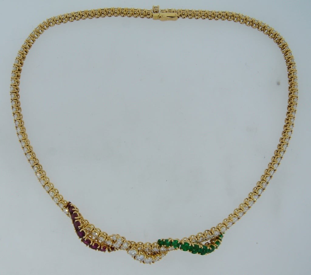 asprey emerald spinel yellow gold necklace for
